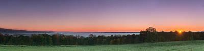 Morning Has Broken Over A Misty Valley Narrow Poster