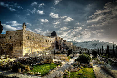 Morning In Jerusalem Hdr Poster by David Morefield