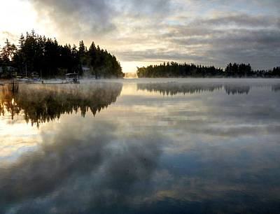 Morning Lake Reflection Poster by Peter Mooyman