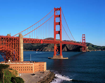 Morning Light Bathes The Golden Gate Poster by John Alves