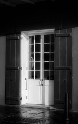 Morning Light On A French Quarter Door In Black And White Poster by Chrystal Mimbs