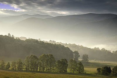 Morning Mist In The Smokies Poster by Andrew Soundarajan