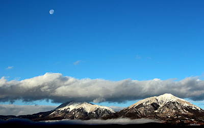 Poster featuring the photograph Morning Moon Over Spanish Peaks by Barbara Chichester