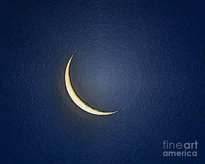 Morning Moon Textured Poster