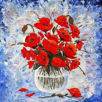 Morning Red Poppies Original Palette Knife Painting Poster by Georgeta Blanaru