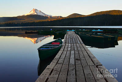 Morning Reflections With Mount Ranier Poster by Jane Axman