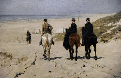 Morning Ride Along The Beach Poster by Anton Mauve