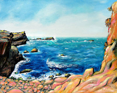 Poster featuring the painting Morning Sea With Birds On Rocks by Asha Carolyn Young