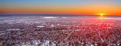 Morning Sunrise Over Boulder Colorado University Panorama Poster