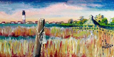 Morning View In South Port Looking At Oak Island Poster by Jim Phillips