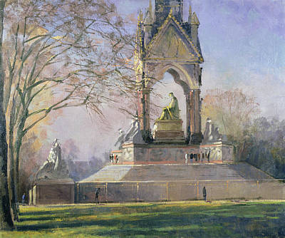 Morning Visitors To The Albert Memorial Oil On Canvas Poster