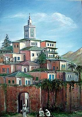 Poster featuring the painting Moroccan Village - Alkasaba by Laila Awad Jamaleldin