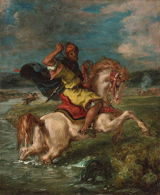 Moroccan Horseman Crossing A Ford Poster by Eugene Delacroix