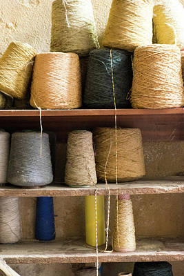 Morocco, Fes Medina, Spools Of Weaving Poster by Emily Wilson