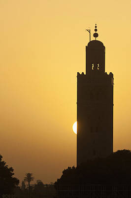 Morocco, Sun Setting Behind Minaret Poster by Ian Cumming