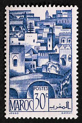 Morocco Vintage Postage Stamp Poster