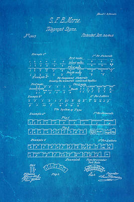Morse Code Patent Art 1840 Blueprint Poster by Ian Monk