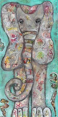 Mosaic Elephant Poster