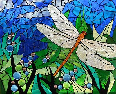 Mosaic Stained Glass - Golden Brown Dragonfly Poster