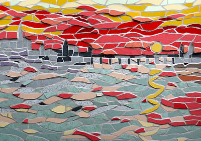 Mosaic View Of Sunset Over The Thames In London Poster