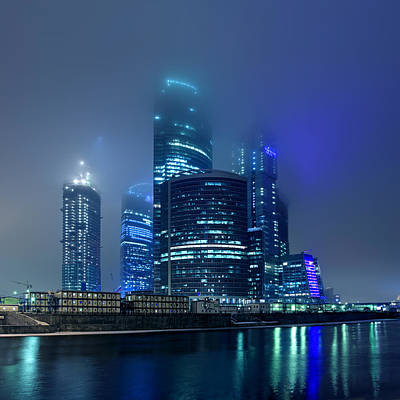 Moscow City In Myst At Night Poster by Alex Sukonkin