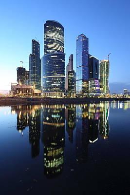 Moscow City Skyline Mirrored Poster by Alex Sukonkin