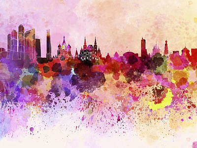 Moscow Skyline In Watercolor Background Poster