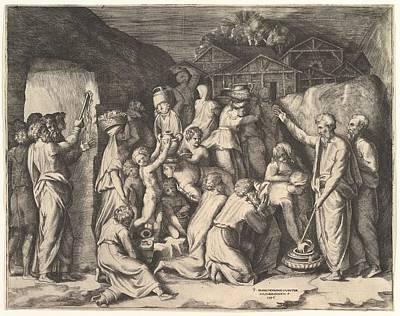 Moses Telling The Israelites To Gather Poster by Giulio Bonasone