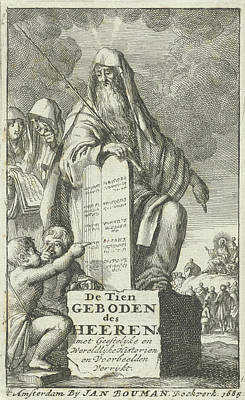 Moses With The Tablets Of Law, Jan Luyken Poster by Jan Luyken And Jan Bouman