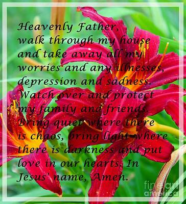 Most Powerful Prayer With Daylilies Poster by Barbara Griffin