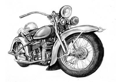 Motercycle Drawing Art Sketch - 4 Poster by Kim Wang