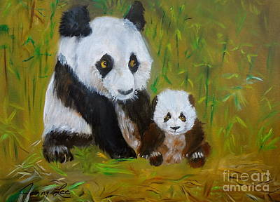Poster featuring the painting Mother And Baby Panda by Jenny Lee
