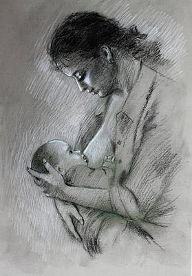 Poster featuring the drawing Mother And Baby by Viola El