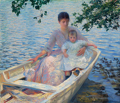 Mother And Child In A Boat Poster by Edmund Charles Tarbell