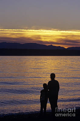 Mother And Daughter Holding Each Other Along Edmonds Beach At Su Poster