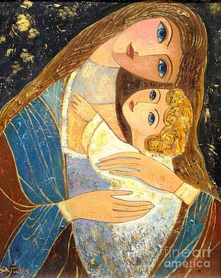 Mother And Golden Haired Child  Poster by Shijun Munns
