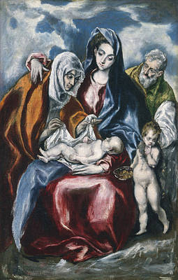 Mother Child With Saint Anne And The Infant John The Baptist Poster by Celestial Images