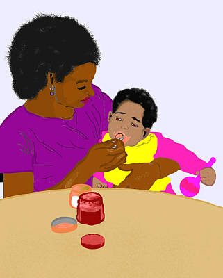 Mother Feeding Her Baby Poster by Pharris Art