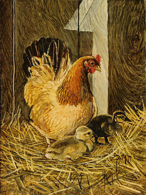 Poster featuring the painting Mother Hen by Steve Spencer
