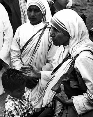 Mother Teresa With Young Boy Poster