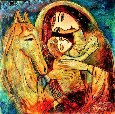 Mother With Child On Horse Poster by Shijun Munns