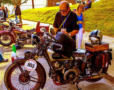 Moto Guzzi At Cannonball Motorcycle Poster