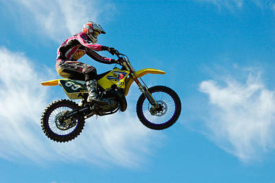 Motocross Rider Jumping High - Blue Sky Poster by Matthias Hauser