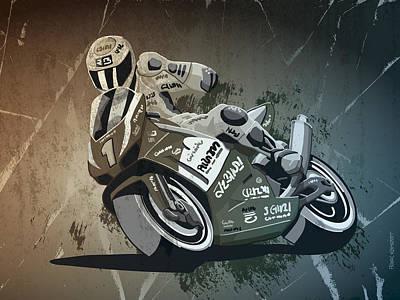 Motorbike Racing Grunge Monochrome Poster by Frank Ramspott