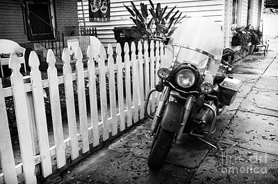 Motorcycle In The Garden District Mono Poster