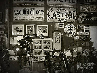 Motorcycle Museum - Oils - Old Signage Poster by Kaye Menner