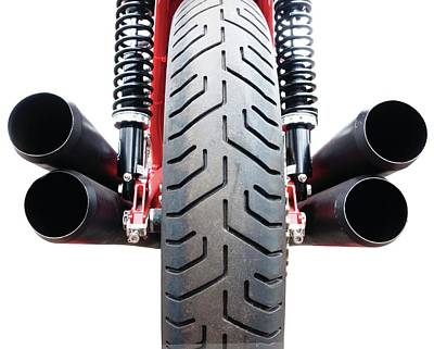 Motorcycle Wheel And Exhaust Pipes Poster
