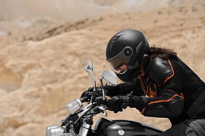 Motorcyclist In A Desert Poster