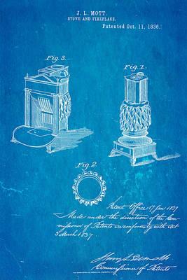 Mott Stove Patent Art 1836 Blueprint Poster