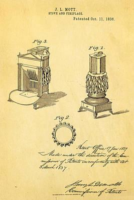 Mott Stove Patent Art 1836 Poster